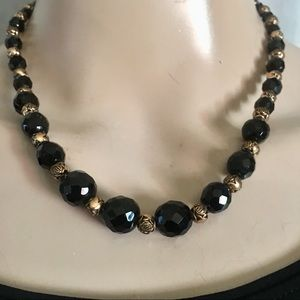Pretty black and gold vintage beaded necklace